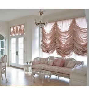 Австрийская штора из розовой тафты